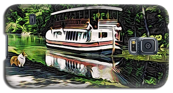 Galaxy S5 Case featuring the digital art River Boat With Welsh Corgi by Kathy Kelly