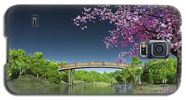 River Bridge Cherry Tree Blosson Galaxy S5 Case by Walter Colvin