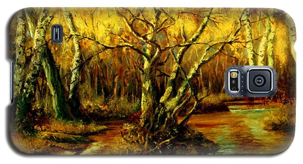 Galaxy S5 Case featuring the painting River In The Forest by Henryk Gorecki