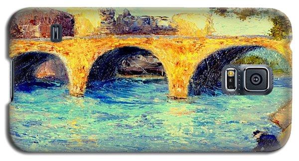 Galaxy S5 Case featuring the painting River Seine Bridge by Gail Kirtz