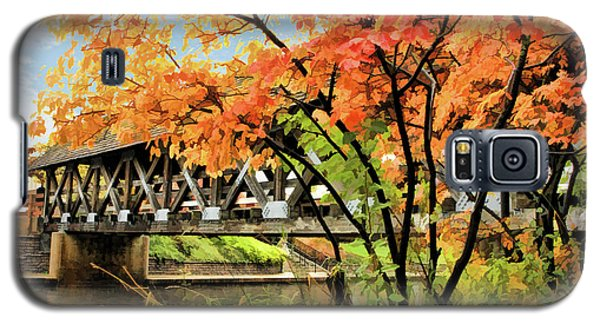 Galaxy S5 Case featuring the painting Riverwalk Covered Bridge by Christopher Arndt