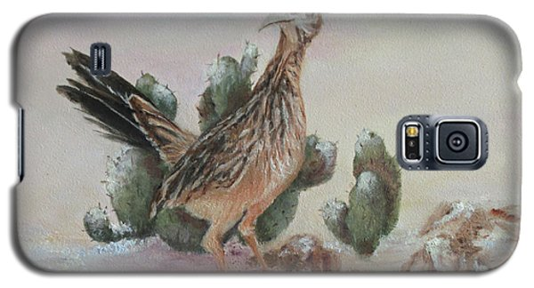 Galaxy S5 Case featuring the painting Roadrunner In Snow by Roseann Gilmore