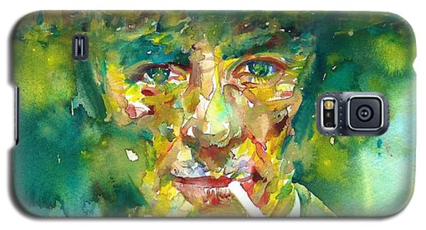 Galaxy S5 Case featuring the painting Robert Oppenheimer - Watercolor Portrait.2 by Fabrizio Cassetta