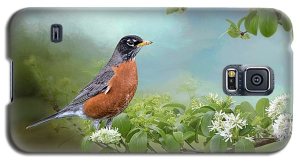 Galaxy S5 Case featuring the photograph Robin In Chinese Fringe Tree by Bonnie Barry