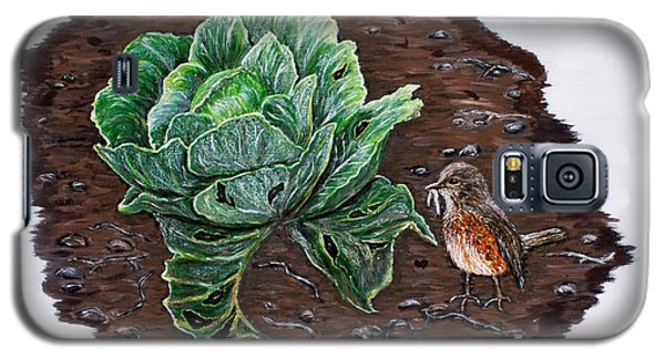 Galaxy S5 Case featuring the painting Robin In The Gardin by Judy Kirouac