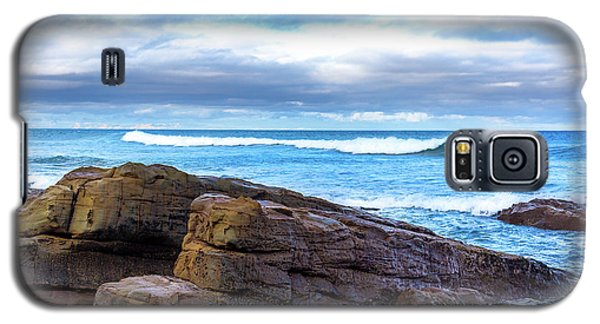 Galaxy S5 Case featuring the photograph Rock And Wave by Perry Webster