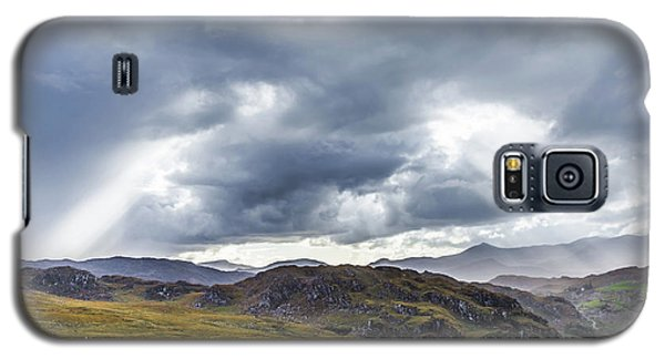 Galaxy S5 Case featuring the photograph Rock Formation Landscape With Clouds And Sun Rays In Ireland by Semmick Photo