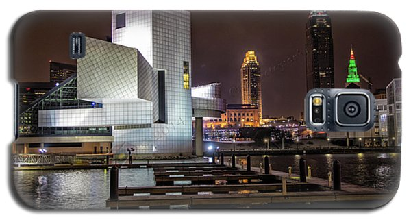 Galaxy S5 Case featuring the photograph Rock Hall Of Fame And Cleveland Skyline by Peter Ciro