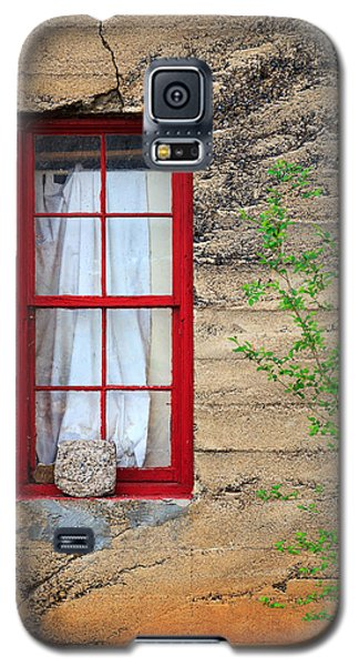 Galaxy S5 Case featuring the photograph Rock On A Red Window by James Eddy
