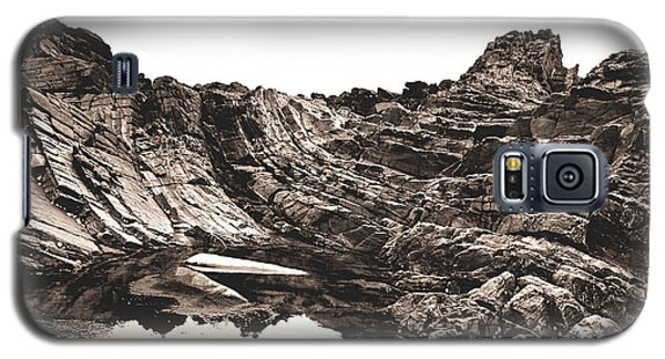 Galaxy S5 Case featuring the photograph Rock - Sepia by Rebecca Harman