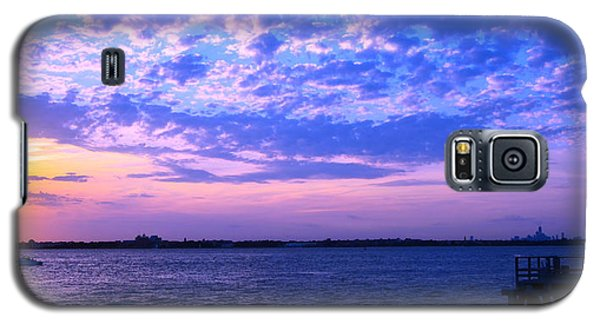 Rockaway Point Dock Sunset Violet Orange Galaxy S5 Case