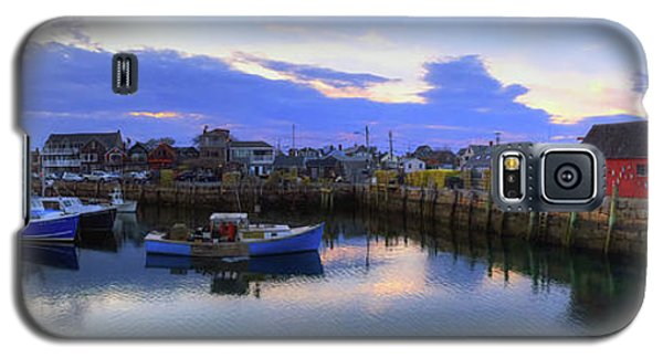 Galaxy S5 Case featuring the photograph Rockport Harbor Sunset Panoramic With Motif No1 by Joann Vitali