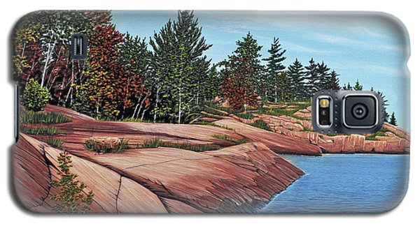 Galaxy S5 Case featuring the painting Rocky River Shore by Kenneth M Kirsch