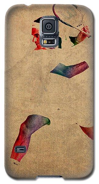 Roger Federer Watercolor Portrait On Worn Canvas Galaxy S5 Case