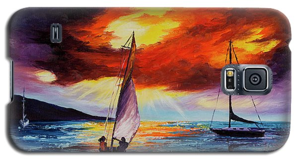 Galaxy S5 Case featuring the painting Romancing The Sail by Darice Machel McGuire