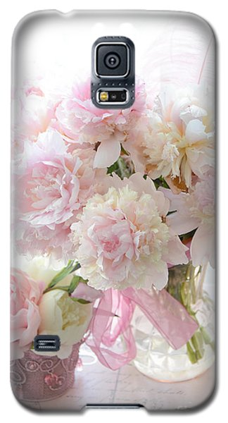 Romantic Shabby Chic Pink White Peonies - Shabby Chic Peonies Pastel Decor Galaxy S5 Case