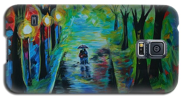 Galaxy S5 Case featuring the painting Romantic Stroll by Leslie Allen