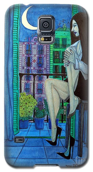 Galaxy S5 Case featuring the painting Romantic Woman At Balcony by Don Pedro De Gracia