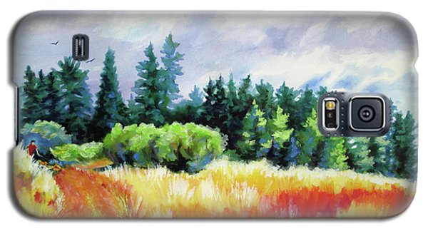 Galaxy S5 Case featuring the painting Romp On The Hill by Kathy Braud