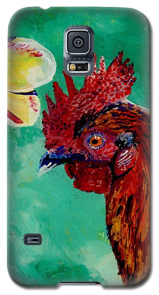 Galaxy S5 Case featuring the painting Rooster And Plumeria by Marionette Taboniar