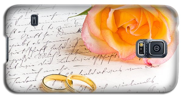 Rose And Two Rings Over Handwritten Letter Galaxy S5 Case