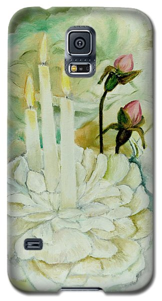 Galaxy S5 Case featuring the painting Rose Candles by Miriam Leah