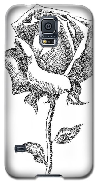 Rose Drawings Black-white 5 Galaxy S5 Case