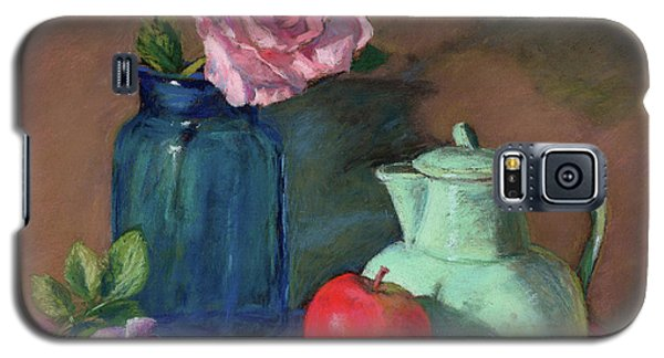 Galaxy S5 Case featuring the painting Rose In Blue Jar by Vikki Bouffard