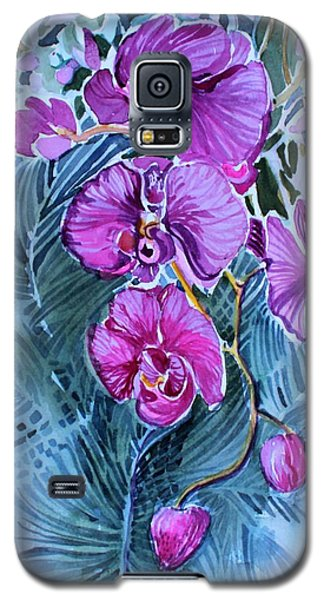 Galaxy S5 Case featuring the painting Rose Orchids by Mindy Newman