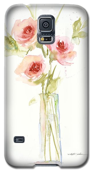 Galaxy S5 Case featuring the painting Roses In Glass Vase by Sandra Strohschein