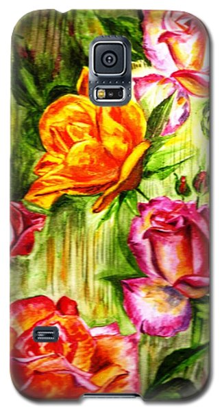 Galaxy S5 Case featuring the painting Roses In The Valley  by Harsh Malik