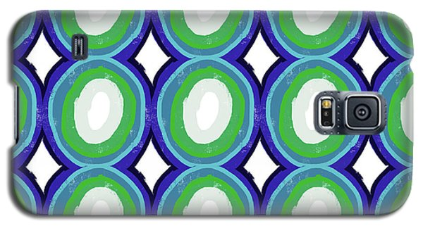 Round And Round Blue And Green- Art By Linda Woods Galaxy S5 Case by Linda Woods