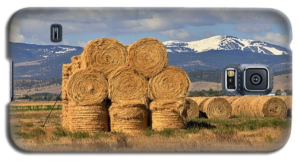 Round Hay Bales And Mountain Galaxy S5 Case