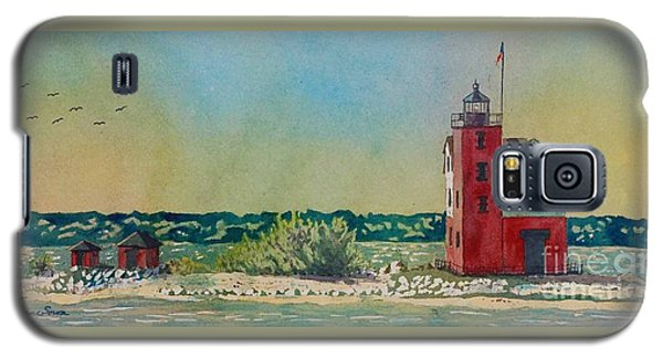 Galaxy S5 Case featuring the painting Round Island Lighthouse by LeAnne Sowa