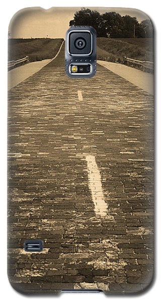 Galaxy S5 Case featuring the photograph Route 66 - Brick Highway 2 Sepia by Frank Romeo