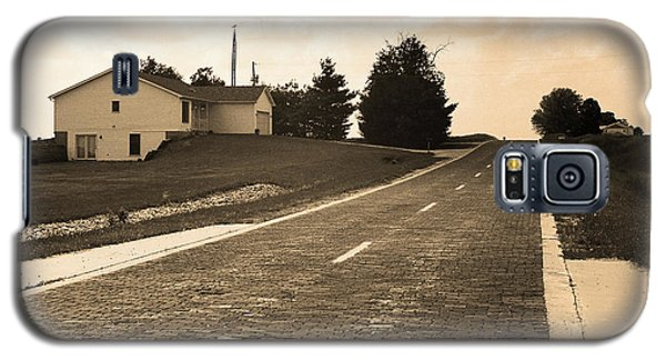 Galaxy S5 Case featuring the photograph Route 66 - Brick Highway Sepia by Frank Romeo