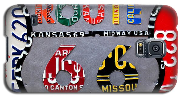 Route 66 Highway Road Sign License Plate Art Galaxy S5 Case by Design Turnpike