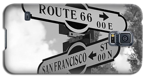 Route 66 Street Sign Black And White Galaxy S5 Case by Phyllis Denton
