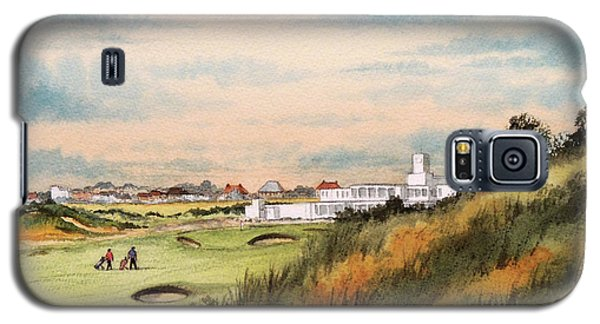 Galaxy S5 Case featuring the painting Royal Birkdale Golf Course 18th Hole by Bill Holkham