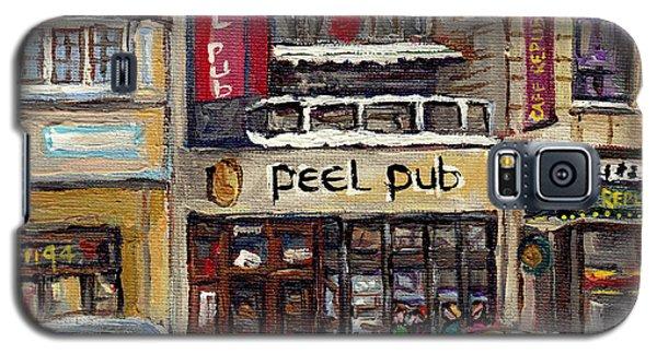Rue Peel Montreal Winter Street Scene Paintings Peel Pub Cafe Republique Hockey Scenes Canadian Art Galaxy S5 Case