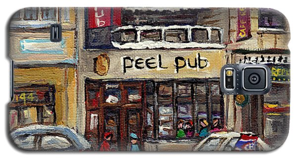 Rue Peel Montreal Winter Street Scene Paintings Peel Pub Cafe Republique Hockey Scenes Canadian Art Galaxy S5 Case