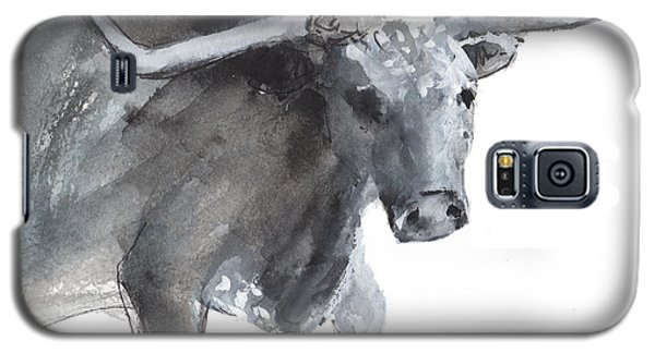 Running Texas Longhorn Watercolor Painting By Kmcelwaine Galaxy S5 Case