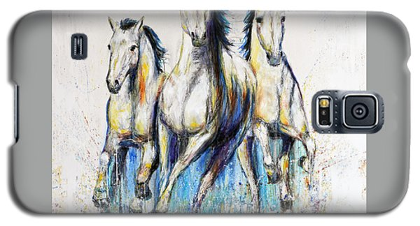 Running With The Herd Horse Painting Galaxy S5 Case by Jennifer Godshalk