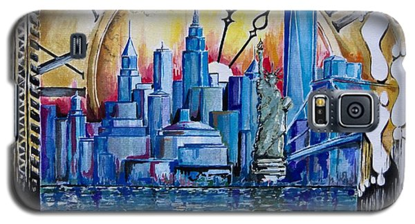 Galaxy S5 Case featuring the painting Rush Hour In New York  by Geni Gorani