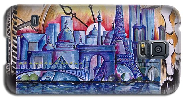 Galaxy S5 Case featuring the painting Rush Hour In Paris by Geni Gorani