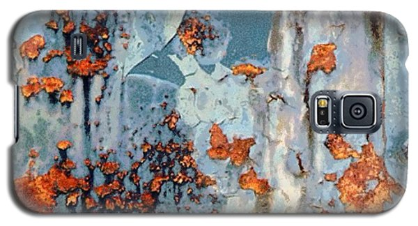 Galaxy S5 Case featuring the photograph Rusted World - Orange And Blue - Abstract by Janine Riley