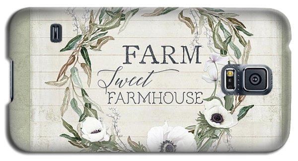 Rustic Farm Sweet Farmhouse Shiplap Wood Boho Eucalyptus Wreath N Anemone Floral Galaxy S5 Case