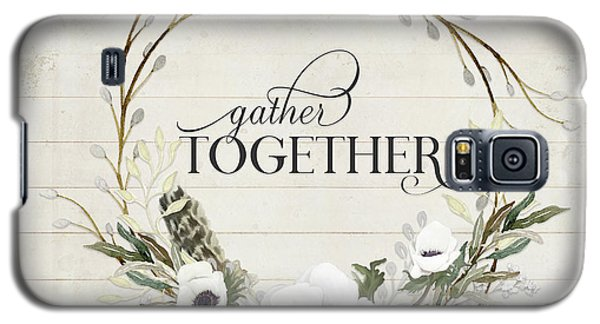 Rustic Farmhouse Gather Together Shiplap Wood Boho Feathers N Anemone Floral 2 Galaxy S5 Case
