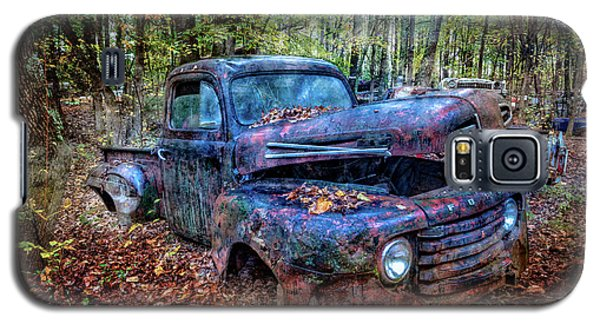 Galaxy S5 Case featuring the photograph Rusty Blue Vintage Ford  Truck by Debra and Dave Vanderlaan
