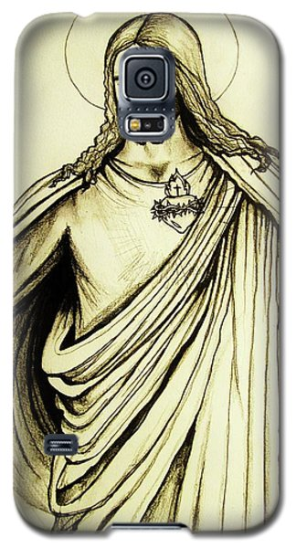 Galaxy S5 Case featuring the drawing Sacred Heart by Mary Ellen Frazee